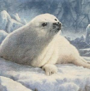White Snow Seal Animal Lover Nature Cute VTG Shirt